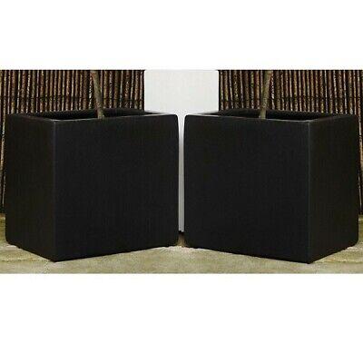 Pair of 20cm Black Polystone Cubic Planters - Garden Home Gardening Square Pots