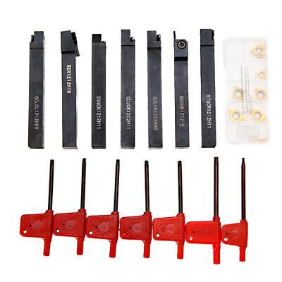 7pcs 12x12mm Cnc Lathe Turning Tool Holder Boring Bar 7pcs Inserts Blade Set