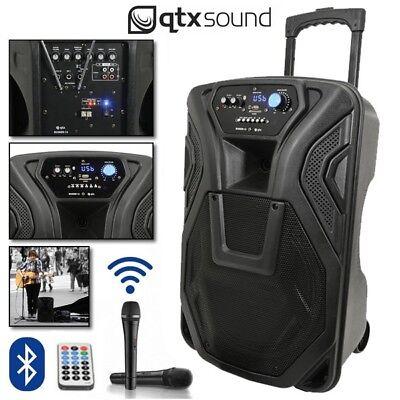 "QTX Busker 12 Portable USB Bluetooth DJ Band Karaoke 12"" PA Speaker System"