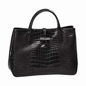 Longchamp Roseau Black · Longchamp Leather Roseau Croc Bag ... 28c5f66e2cb1b