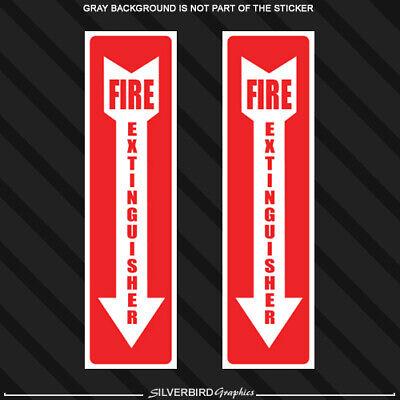 Set of 2 FIRE EXTINGUISHER Sticker Decals Inspection Hose Smoke Alarm Emergency
