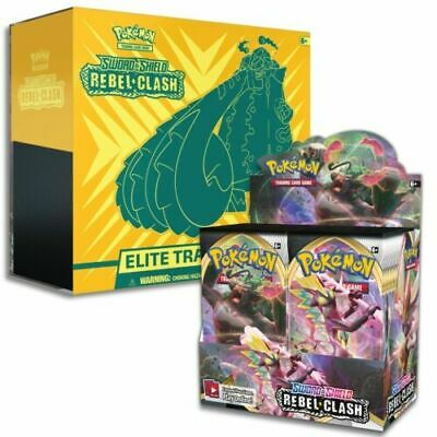 Pokemon Sword and Shield REBEL CLASH Booster Box + Elite Trainer