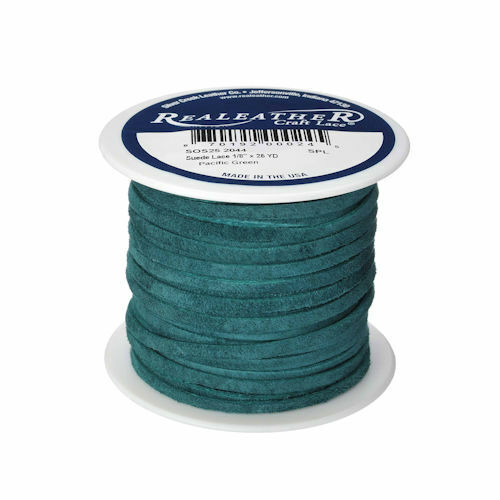 """Suede Lace Pacific Green 1/8"""" x 25 yds. (3.2 mm x 22.8) Realeather Made in USA"""