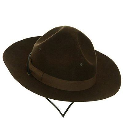 Wool Drill Sergeant Ranger Police Mountie Hat Costume Accessory Brown 2 Sizes