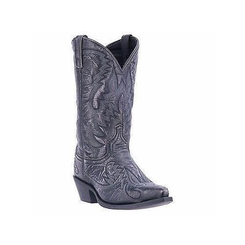 "Laredo, 68407, 12"", Garrett, Snip, Toe, Black, Distressed, Leather, Cowboy, Boots"