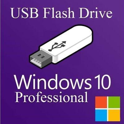 Microsoft Windows 10 Pro Installation Flash Drive 32&64 Bit W/License USB 3.0