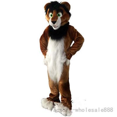 Long Fur Brown Husky Fox Dog Mascot Costume Suit Adult Size Halloween Dress 2019 ()