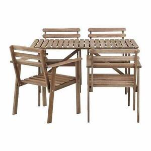 Table and 4 chairs, outdoor, gray-brown stained Hobartville Hawkesbury Area Preview