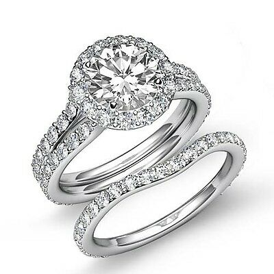 Platinum 3.6ct Brilliant Round Cut Diamond Bridal Set Engagement Ring GIA F VS2