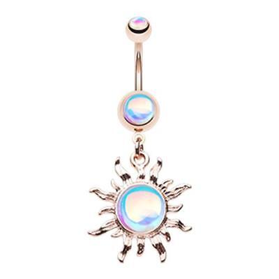 Rose Gold Iridescent Blazing Sun Belly Ring Sexy Pretty Star Dangle Moon Pretty