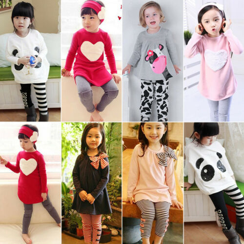 2PCS Toddler Kids Baby Girls Outfits Clothes Long Sleeve T-s