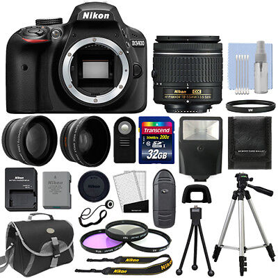 Nikon D3400 Digital SLR Camera Black + 3 Lens: 18-55mm Lens + 32GB Bundle