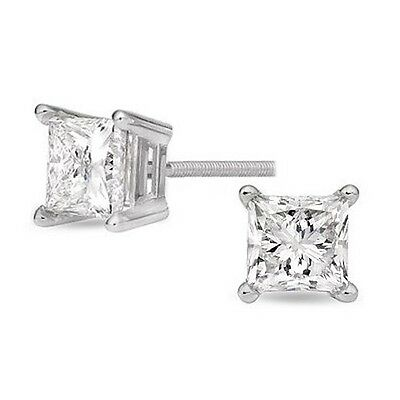 "0.82 ct Princess Diamond Stud Earrings ""GIA"" cert. F color VS2 clarity 14k Gold"