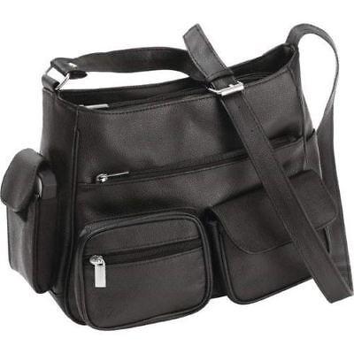 Black Solid Genuine Leather Purse Shoulder Strap Handbag