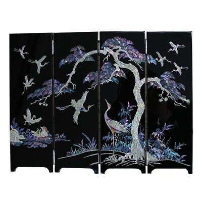 Nacre Ten Symbols Of Longevity Mini folding screen room divider, Mother-of Pearl