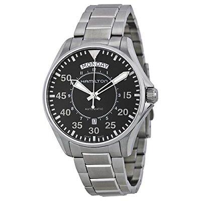 Hamilton Khaki Aviation Pilot Day Date Auto Black Dial SS Men's Watch H64615135