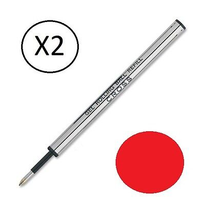 - 2 - Genuine Cross Selectip Rollerball Pen Refills - RED - New In Sealed Packs