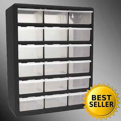 18 Drawer Clear Plastic Storage Bins Bedroom Parts Organizer Boxes ...