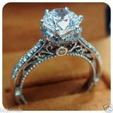 Women's 925 Silver Solitaire Round Cut Diamond Engagement Ring 14K White Gold