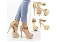 New ladies high heel strappy ankle straps beige size 6