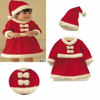 Baby Girls Christmas Xmas Mrs Santa Costume Fancy Dress Outfit Hat 6 12 24 m - Baby Mrs Santa Outfit