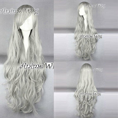Kostüm Alltag Gelockt 100CM Grau Perücke Anime für Angel Sanctuary Rosiel Haar