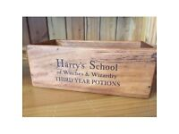 BRAND NEW Harry's School of Witches and Wizardry Harry Potter Wooden Vintage Storage Box