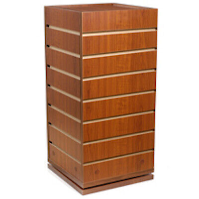 4 Sided Cube Slatwall Display In Cherry 23.5 H X 12 Square Inches