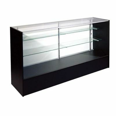 Retail Glass Display Case Full Vision Black 6 Showcase