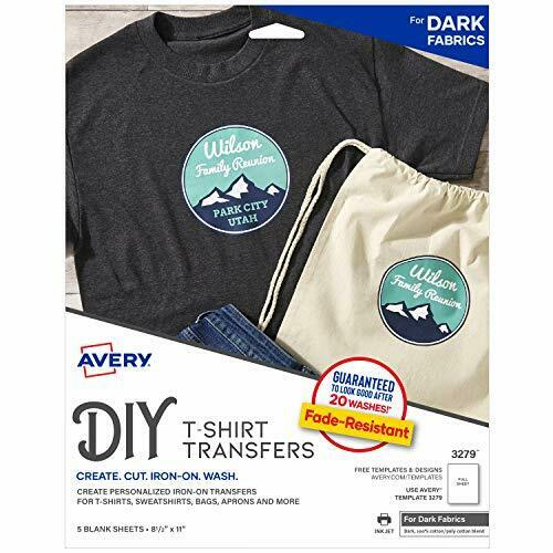 Avery Printable Heat Fabric Transfer Paper for DIY Projects on Dark Fabrics --