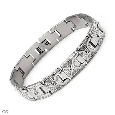 Dazzling New Gentlemens Bracelet With Genuine Crystal Made in Stainless steel.