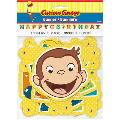 Curious George Party Supplies (CURIOUS GEORGE Celebrate HAPPY BIRTHDAY BANNER ~ Party Supplies Decoration)