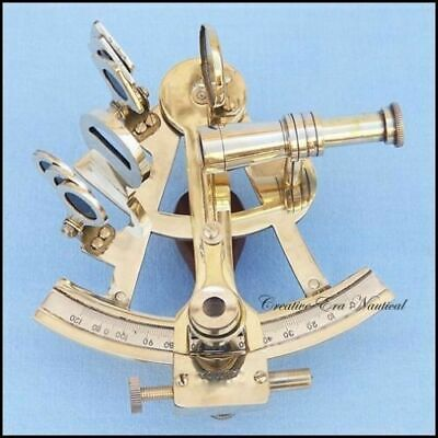 Antique Brass Nautical Sextant Extra Sighting Telescoper-German Pattern Sextant