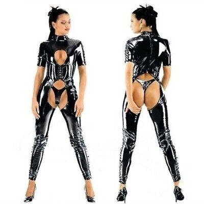 Women Catsuit Rubber Bodysuit Female Front Zipper Zip Lingerie Cat Girl Suit](Cat Catsuit)