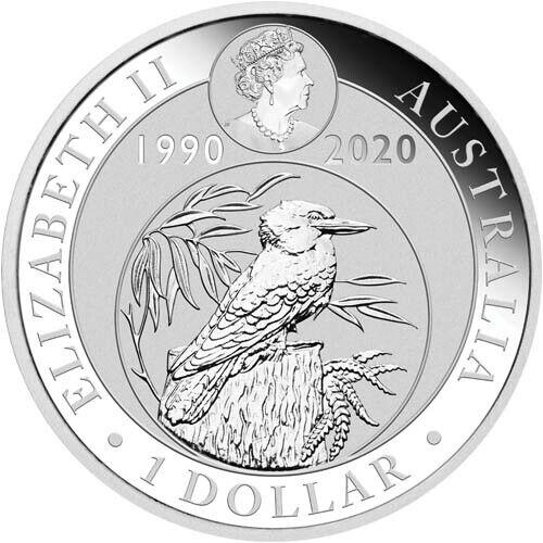 2020 1 oz Australian Silver Kookaburra 30th Anniversary Coin BU