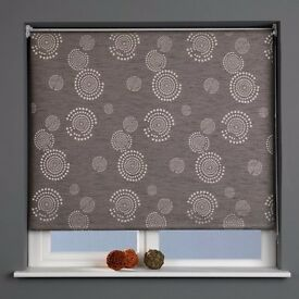 Patterned Thermal Blackout Roller Blind, Cosmic Graphite, W90cm