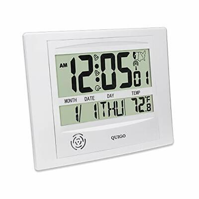 Radio Controlled Atomic Wall Desk Clock Date&Temperature Battery Operated New
