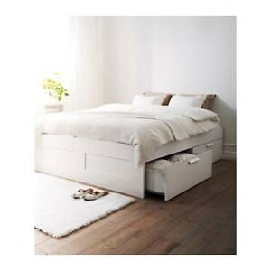Ikea Brimnes queen white bedframe