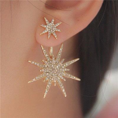 1 PC Women Lady Crystal Rhinestone Dangle Gold Star Ear Stud Earring Jewelry