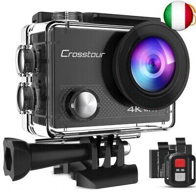 Crosstour Action Cam 4K WiFi 16MP Action Camera Subacquea 30M con Custodia