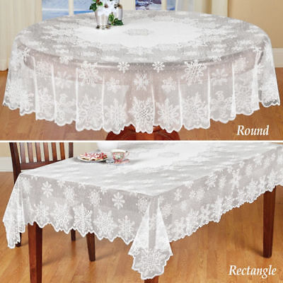 Christmas Table Cloth Cover White Vintage Lace Tablecloth Home Party Xmas Decor - Christmas Table Cloth