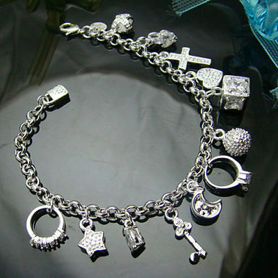 925 nice best Silver Plated Fashion Women 13 Charm pendant Beautiful Bracelet