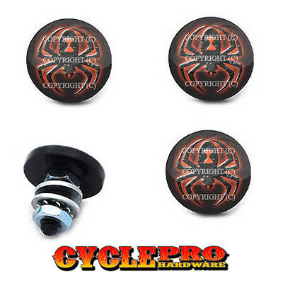 4 Custom Black LG License Plate Frame Tag Bolts WIDOW SPIDER - 014