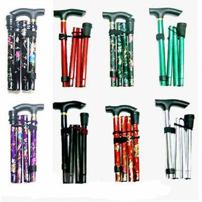 Walking Stick Easy Adjustable Folding Cane Flower Style & Plain Design UK Seller