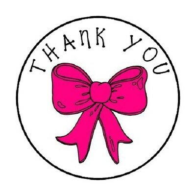 48 Thank You Pink Bow!!  ENVELOPE SEALS LABELS STICKERS 1.2