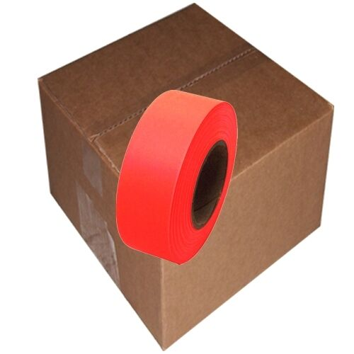 "Fluorescent Orange Flagging Tape 1 3/16"" x 150 ft Roll Non-Adhesive (12 Roll/Cas"
