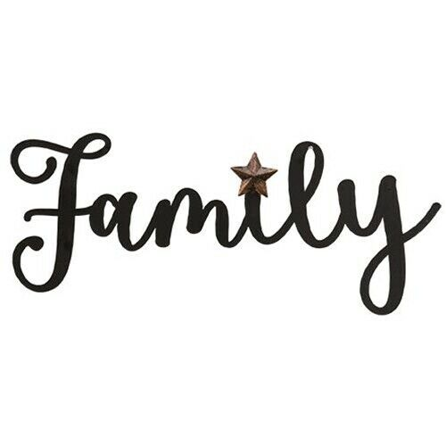 """NEW FAMILY HANGING SIGN Metal Script Cottage Farm Primitive with Star 14"""" Wide"""