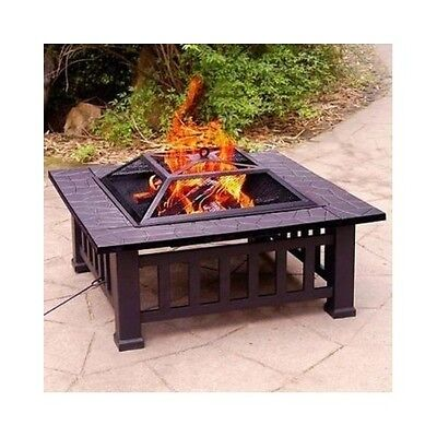 """32"""" FIRE PIT WITH COVER WOOD BURNING OUTDOOR PARTY GRILL PATIO BACKYARD PORTABLE"""