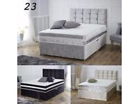 BLACK SILVER AND CREAM- NEW DOUBLE OR KING CRUSHED VELVET DIVAN BED AND DEEP QUILT MATTRESS