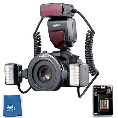 Yongnuo YN24EX Macro Flash Speedlite TTL 2pcs Flash Head + 4pcs Adapter Rings ++